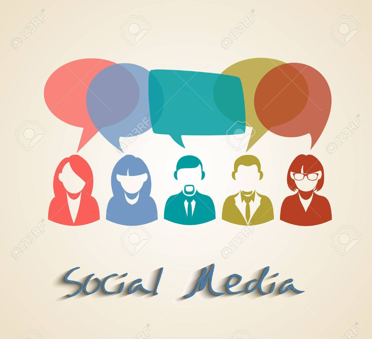 Social Media People Group. Chat And Forum Concept Illustration ...