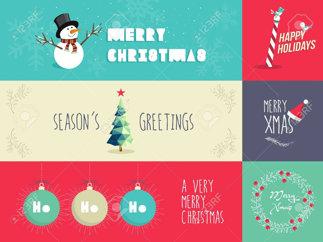 Design elements banner - Set Of Flat Design Elements For Christmas Season Ideal For Greeting Card Poster And