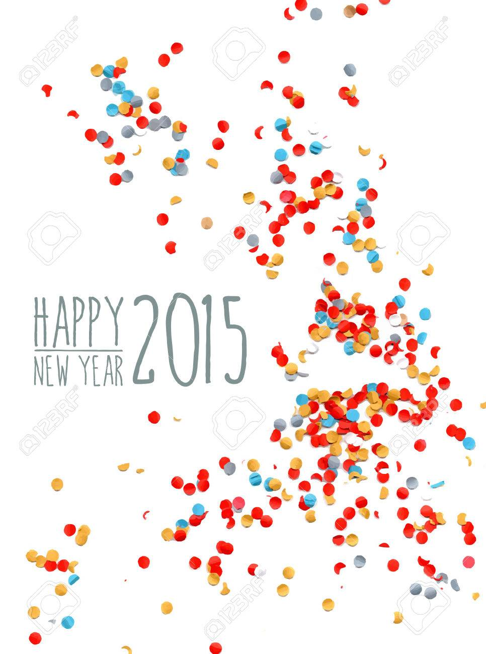 Happy New Year 2015 Celebration With Colorful Confetti Paper
