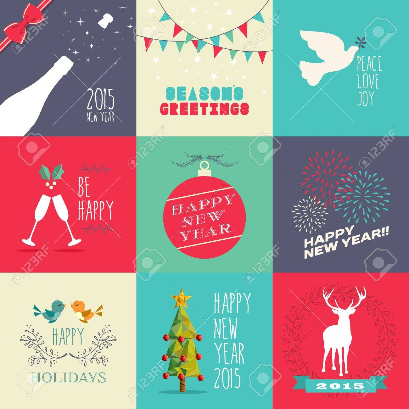 Happy new year 2015 flat design illustration set ideal for website happy new year 2015 flat design illustration set ideal for website greeting card and m4hsunfo