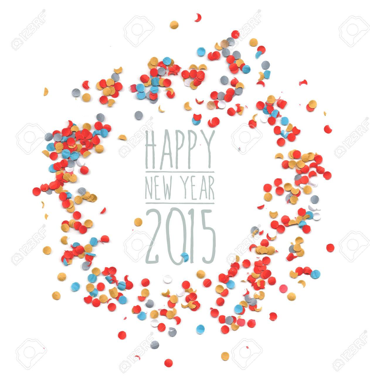 happy new year eve celebration 2015 with colorful confetti template background ideal for greeting card