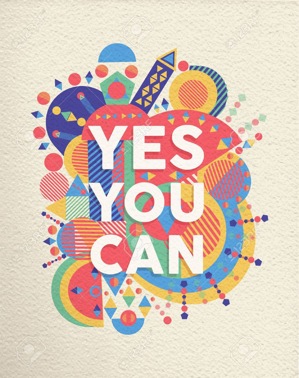 Graphic design poster quotes - Yes You Can Colorful Typographical Poster Inspirational Motivation Quote Design Background Eps10 Vector File