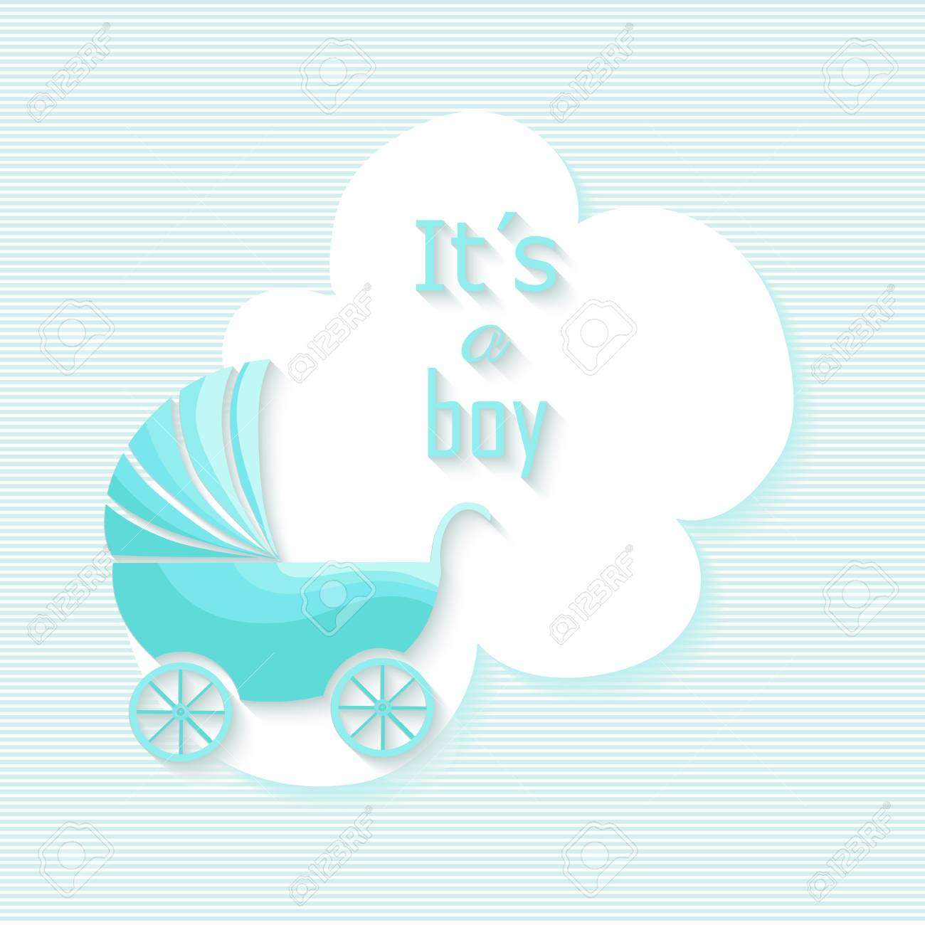 Baby shower boy invitation card with blue stroller design baby shower boy invitation card with blue stroller design illustration eps10 vector file organized in stopboris Images