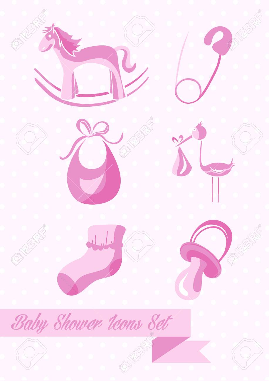 Baby Shower Girl Icons Set Design Illustration. Can Be Used For Website And  App.