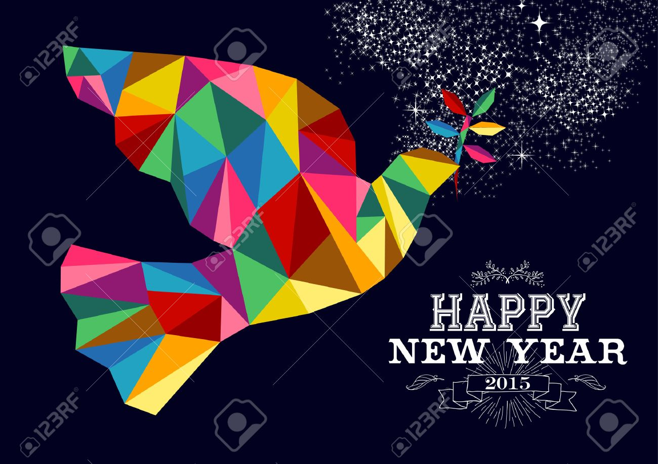 Happy new year 2015 greeting card or poster design with colorful happy new year 2015 greeting card or poster design with colorful triangle peace dove and vintage m4hsunfo