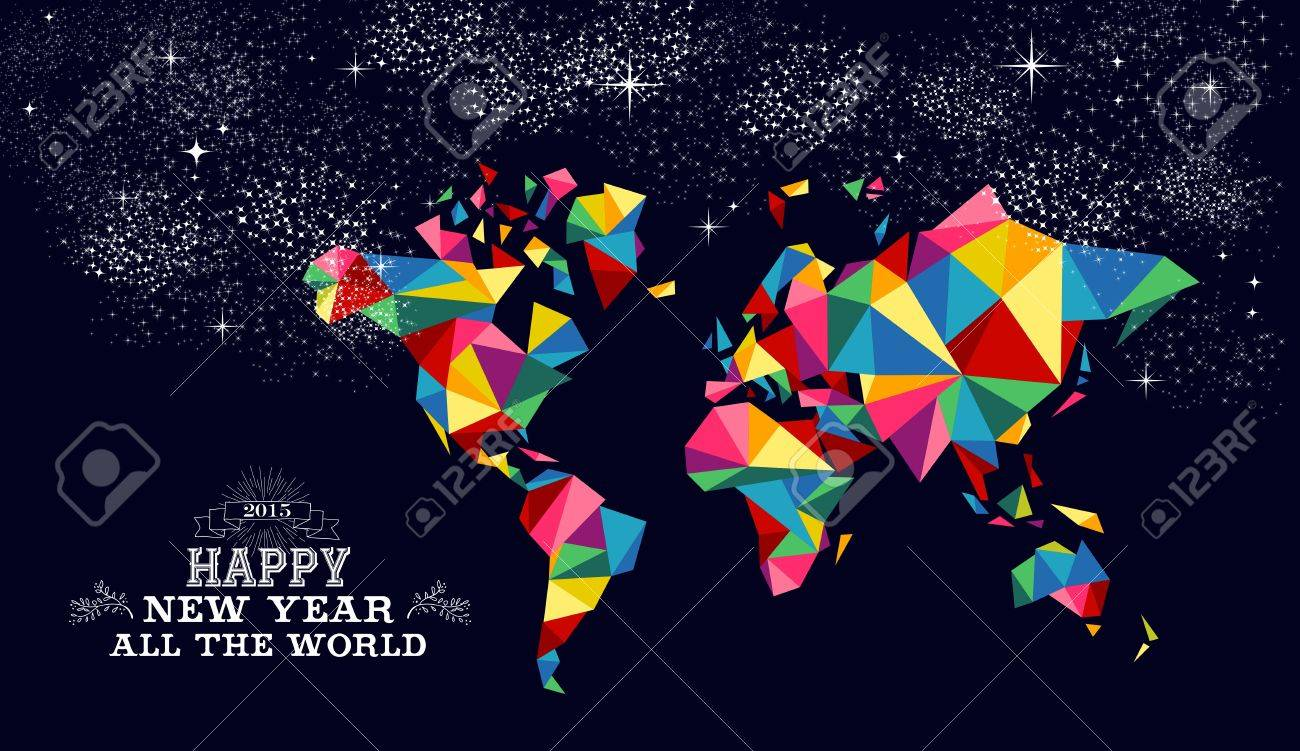 Happy new year 2015 greeting card or poster design with colorful happy new year 2015 greeting card or poster design with colorful triangle world map and vintage gumiabroncs Images