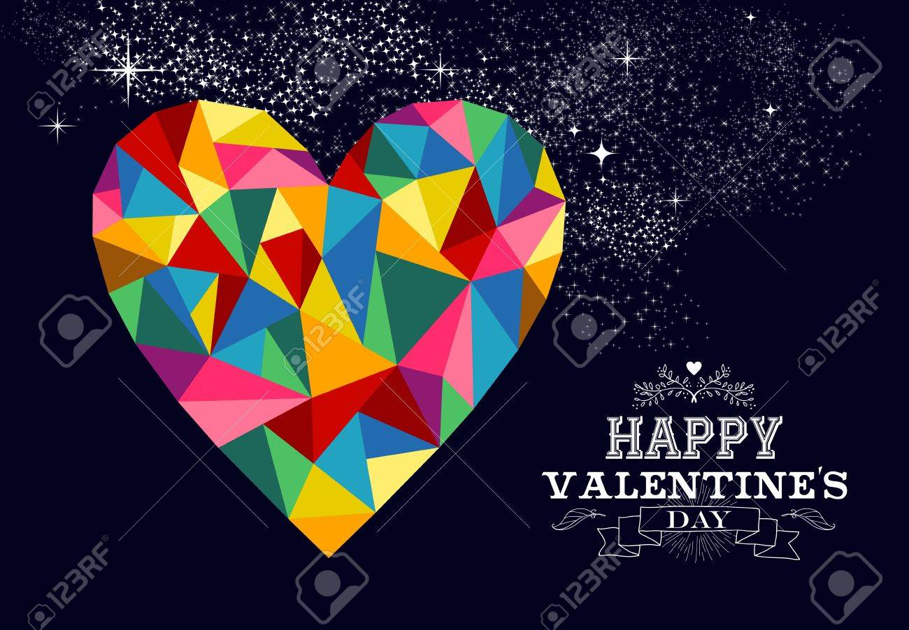 Happy valentines day greeting card or poster design with colorful happy valentines day greeting card or poster design with colorful triangle heart love shape and vintage kristyandbryce Image collections