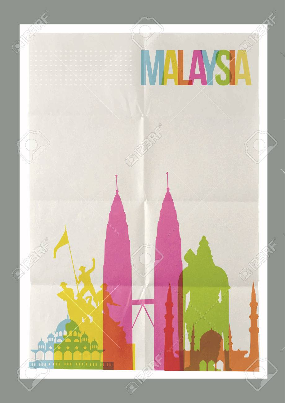 Poster design your own - Poster Design Your Own Travel Malaysia Famous Landmarks Skyline On Vintage Paper Sheet Poster Design
