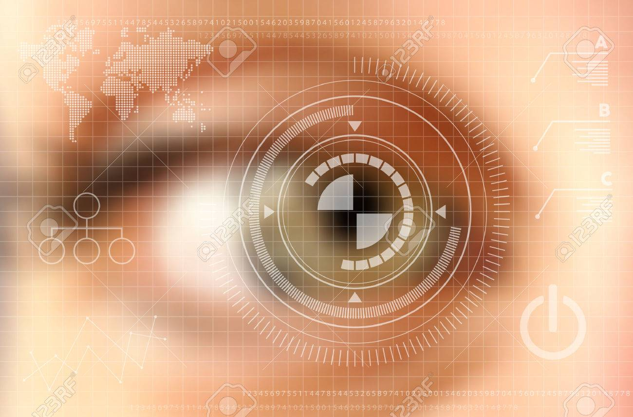 Infographics technology concept. Human eye blurred effect with virtual screen. vector file with transparency layers. - 37268146