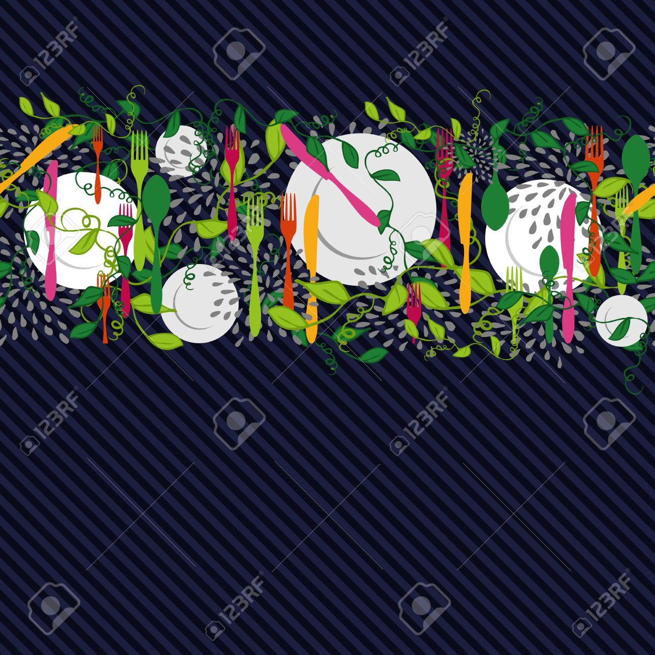 Besteck, Teller Und Lebensmittelküchenelemente Entwerfen Nahtlose ...