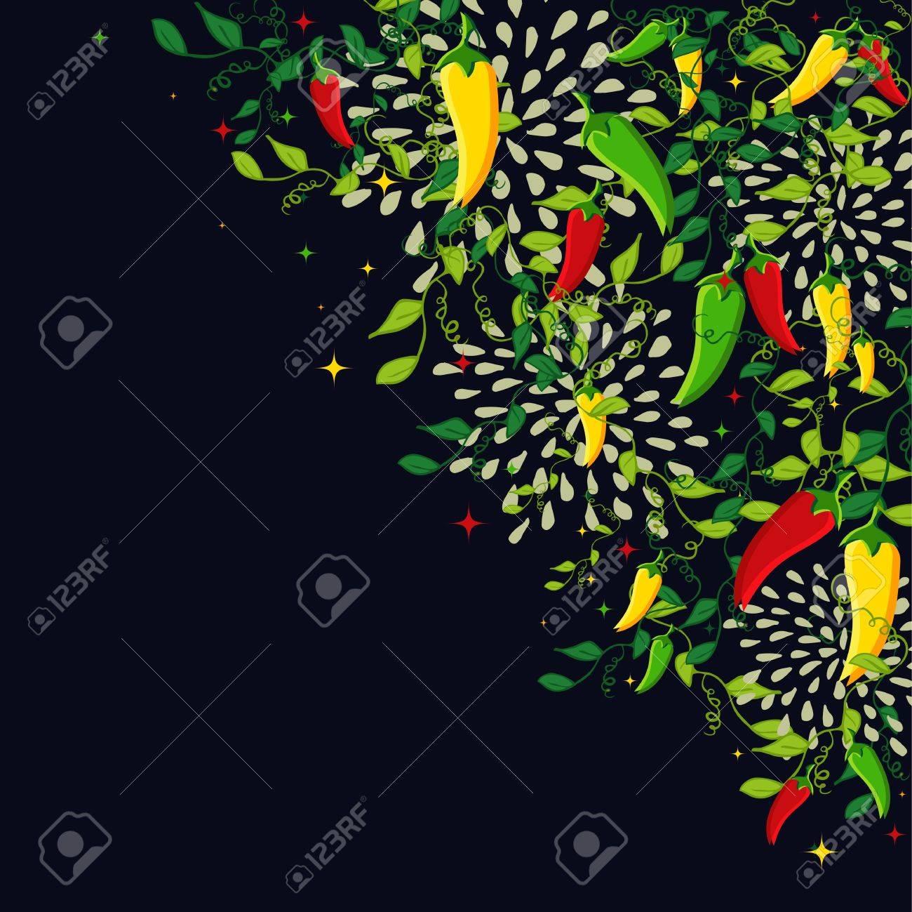 カラフルな唐辛子とメキシコ料理の背景イラスト。メニューのカード