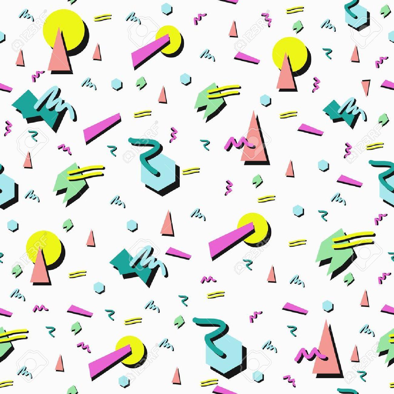 Fototapete Retro 80er Nahtlose Muster Hintergrund