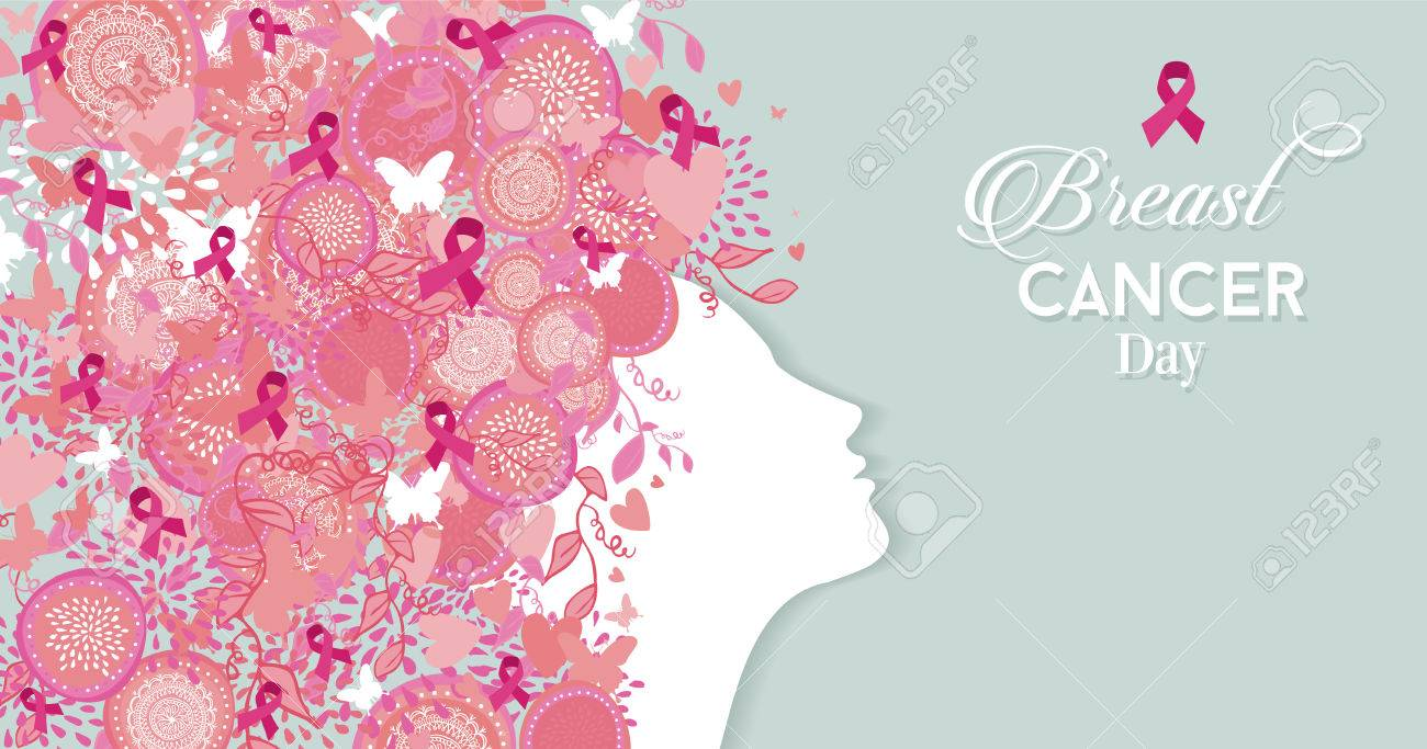 Breast cancer awareness stock photos royalty free business images healthy woman face profile silhouette with pink hair ribbon and nature symbols for breast cancer awareness buycottarizona Images