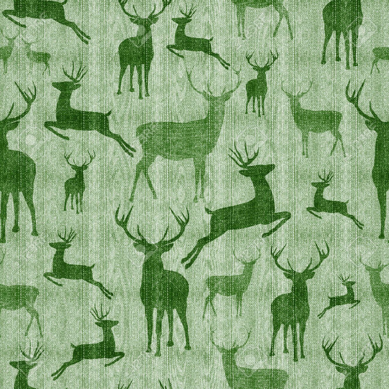 Reindeer Seamless Pattern Vintage Hipster Green Texture Background Ideal For Christmas Season Stock Photo