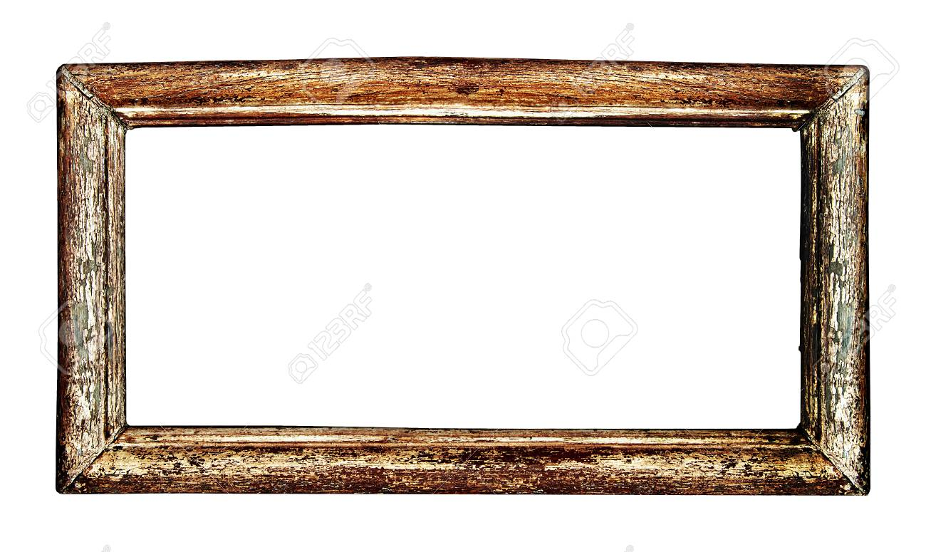 Ancien Cadre Photo Bois Isolé Sur Fond Blanc Comprend Un Chemin De Détourage De Sorte Que Vous Pouvez Facilement Couper Et Placer Sur Un Dessin