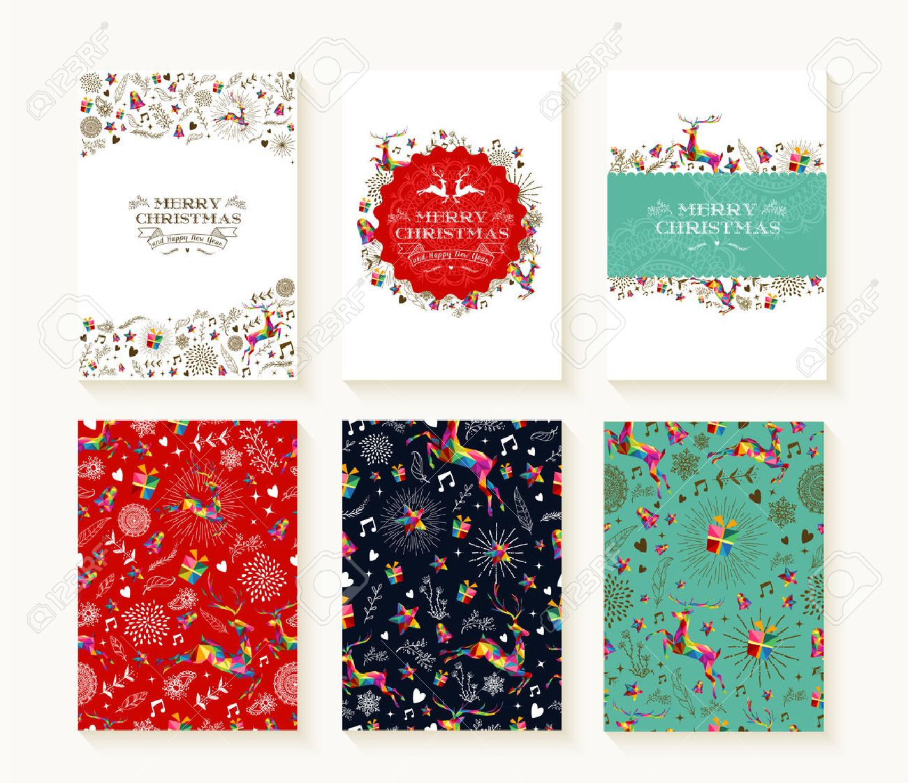 Merry christmas set of seamless xmas reindeer patterns in colorful low poly style and text templates. Ideal for holiday greeting cards, print, or wrapping paper. EPS10 vector file. Stock Vector - 45949398