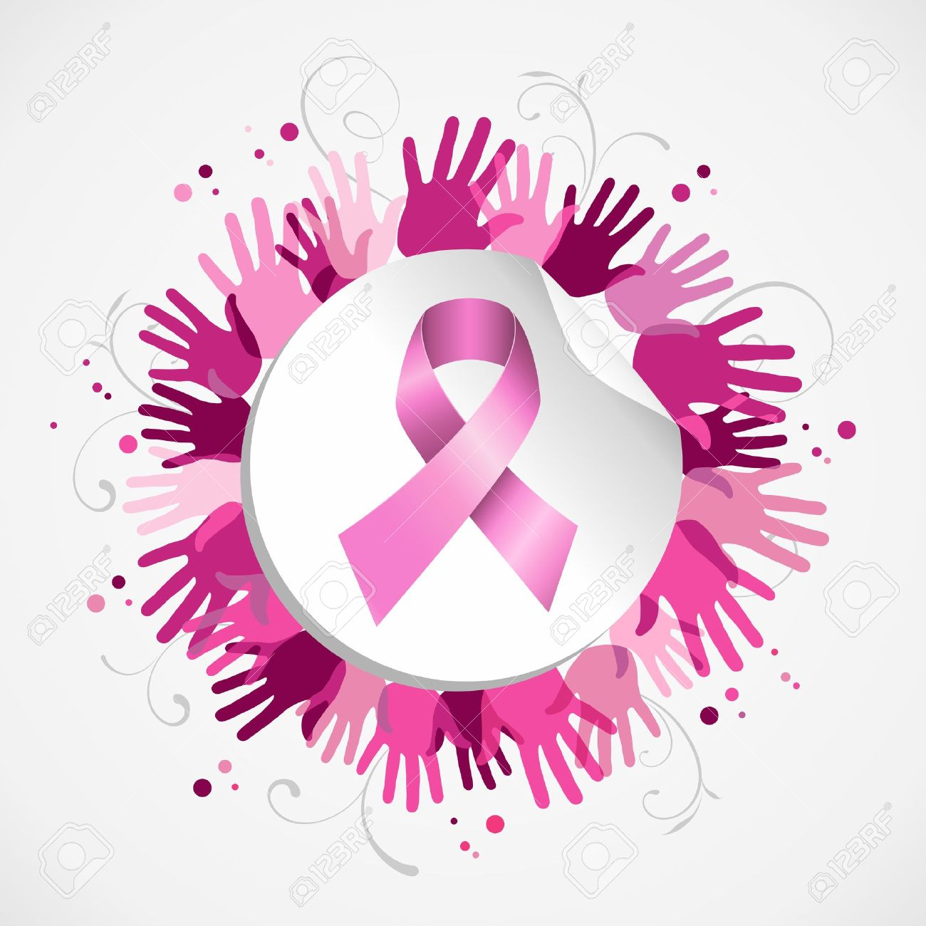 Breast cancer awareness social support hand poster with pink ribbon badge.  EPS10 vector. Stock bed290df3