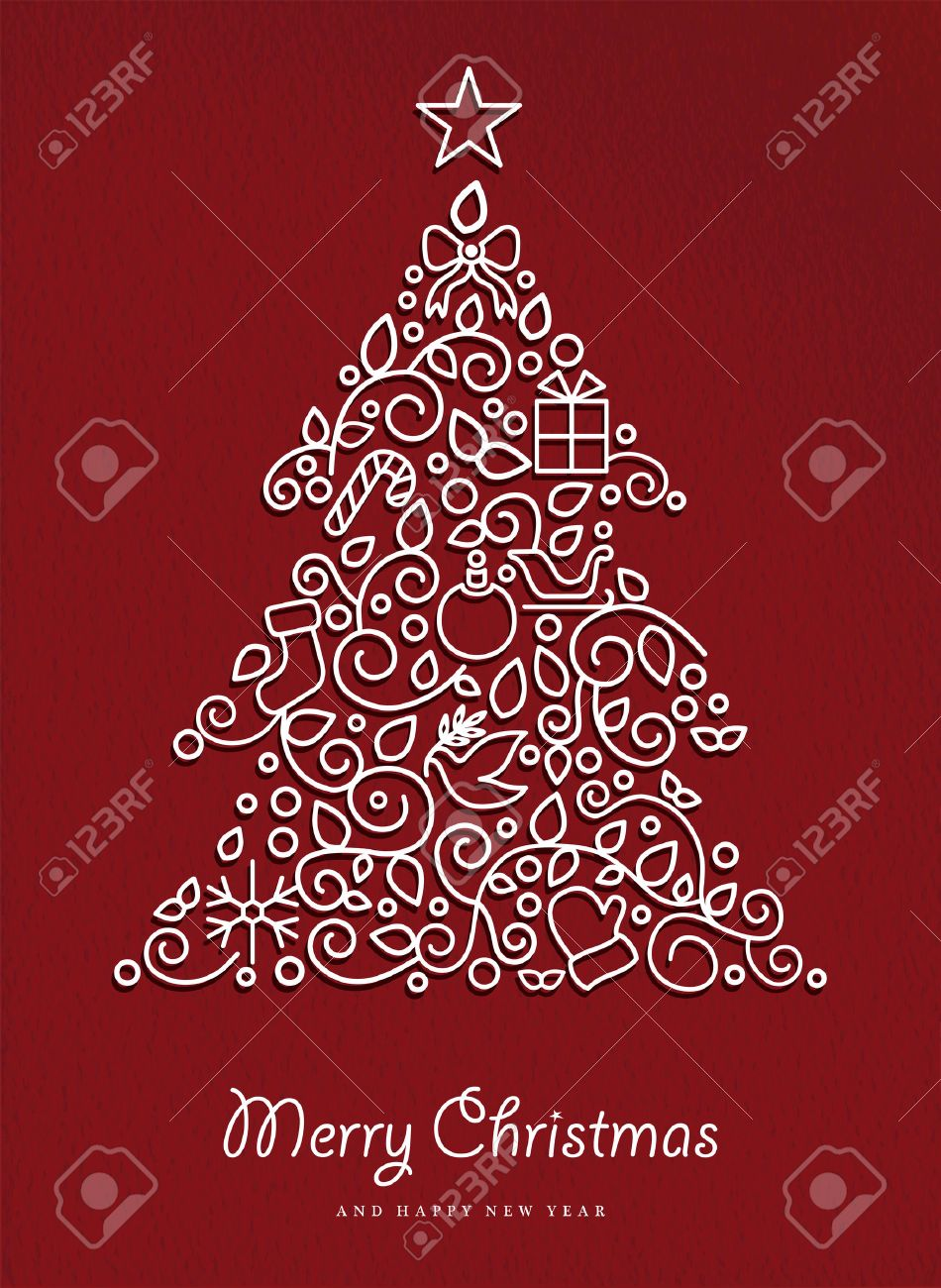 merry christmas and happy new year pine tree made in modern
