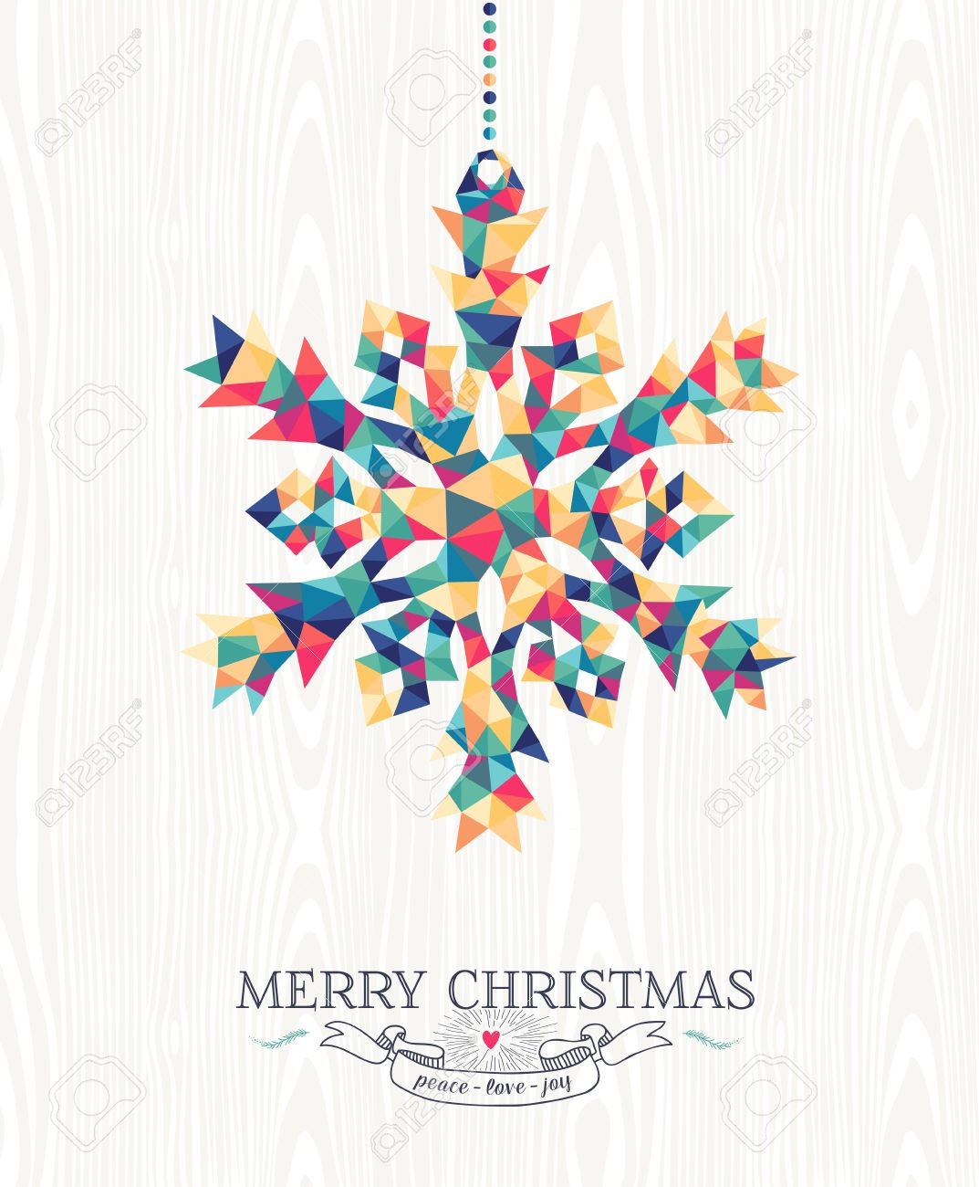 Merry Christmas trendy hipster snowflake made with colorful geometry triangles on wood background. Ideal for holiday greeting card, xmas poster or web template. EPS10 vector. - 45989061