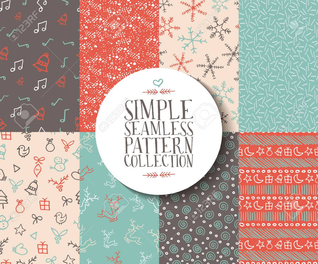 Simple Seamless Pattern Collection With Christmas Templates ...