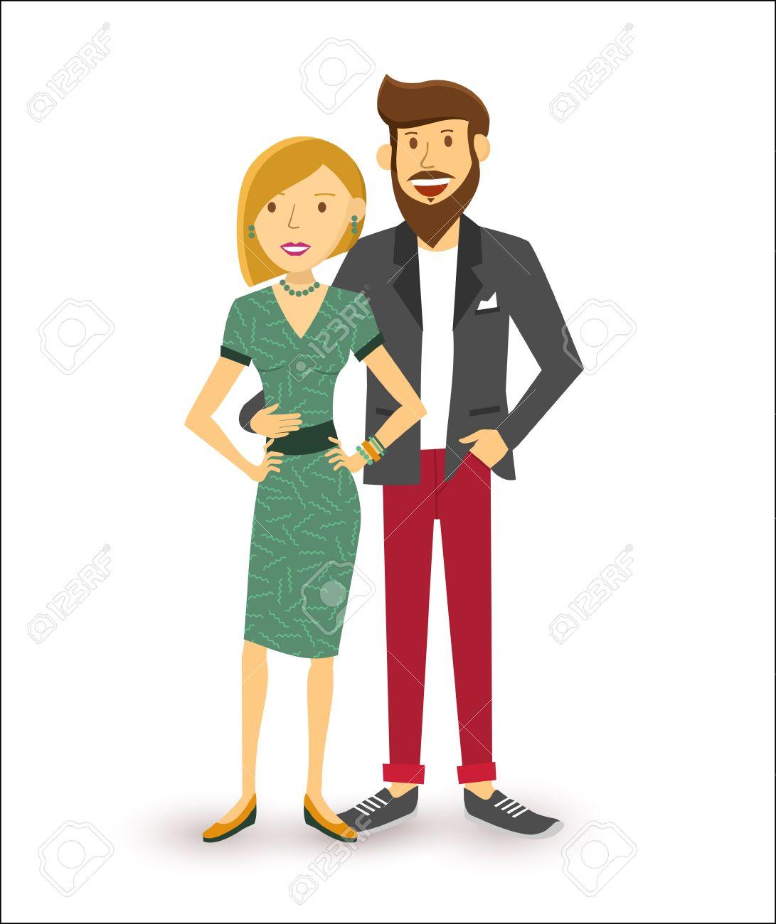 Elegant happy couple smiling, people group flat art illustration. - 46634010