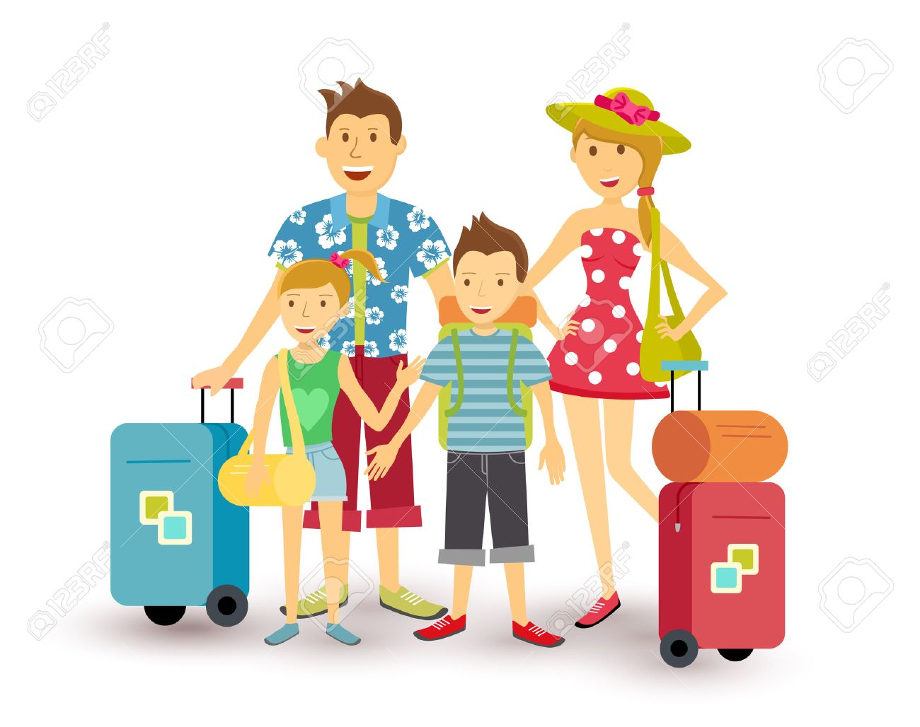 Happy Family Of Parents And Children Travel Summer Vacation With Suitcase People Group Illustration In