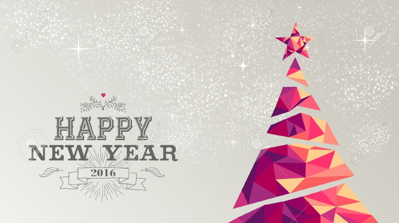 Poster design 2016 - Happy New Year 2016 Holiday Decoration Greeting Card Or Poster Design With Colorful Triangle Christmas Pine