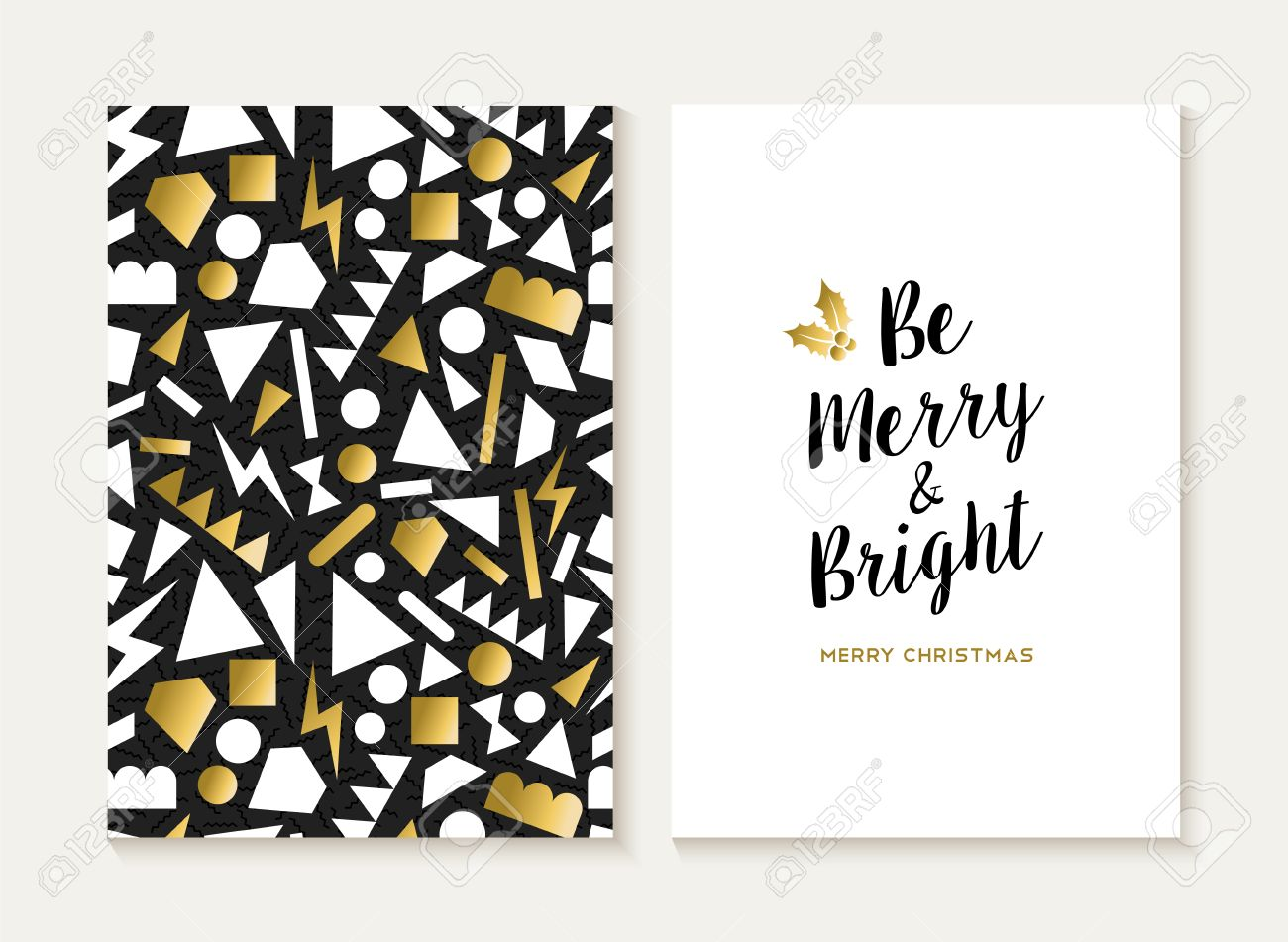 Merry Christmas Card Template Set With Retro 80s Style Seamless ...