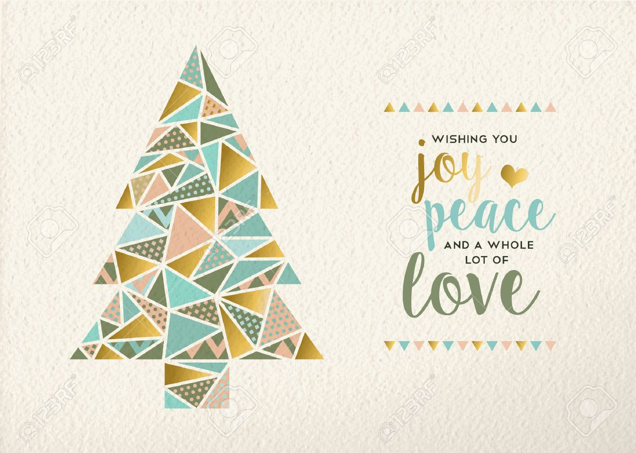 merry christmas happy new year triangle pine tree design in retro