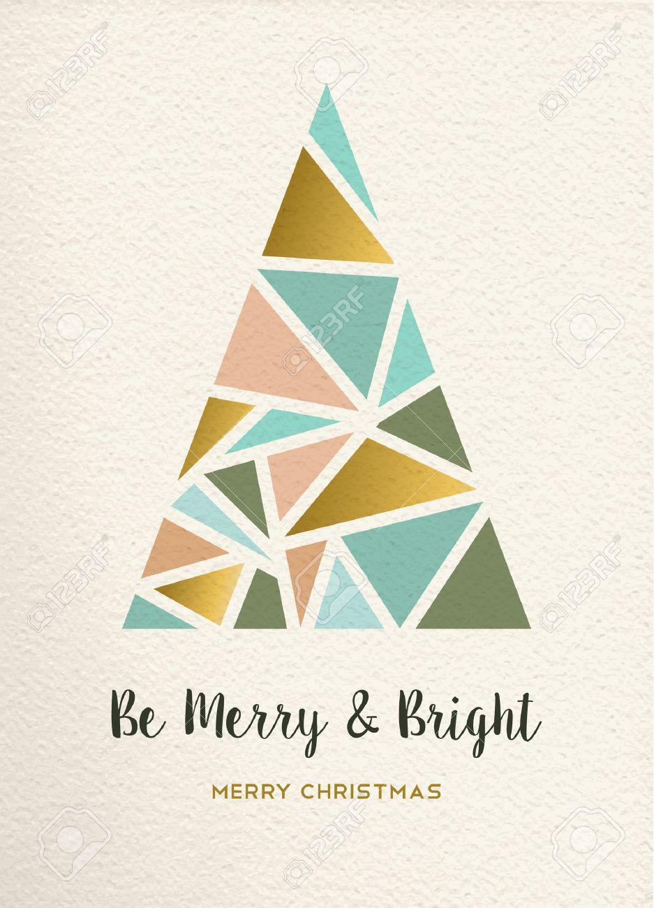 merry christmas triangle pine tree design in retro geometry style
