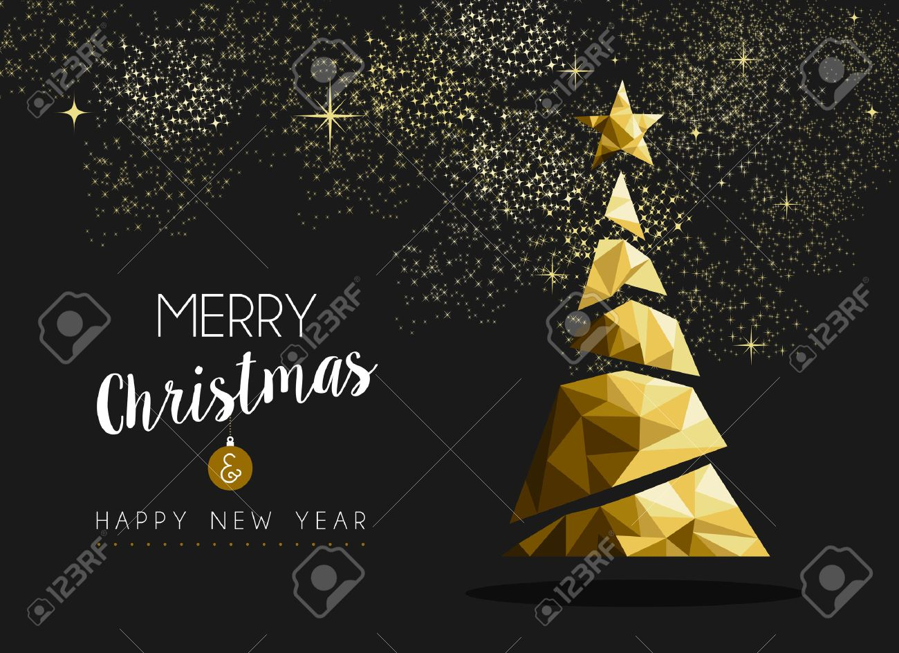 merry christmas and happy new year fancy gold xmas tree in hipster merry christmas and happy new year fancy gold xmas tree in hipster low poly triangle style