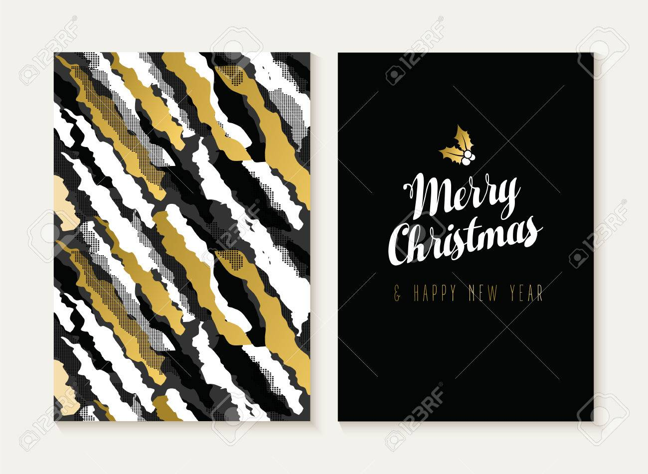 merry christmas and happy new year card template set with retro 80s style seamless pattern and