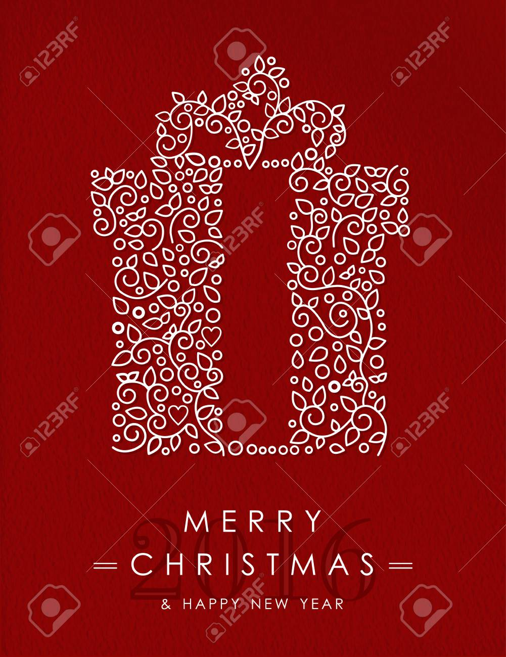 Merry Christmas Happy New Year 2016 Greeting Card Background
