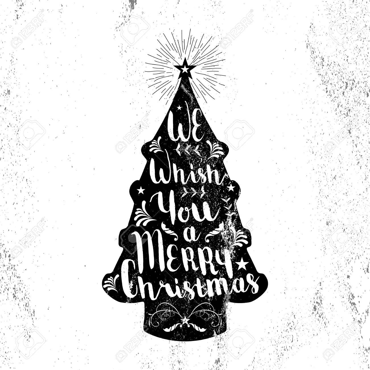 Forme Joyeux Noël Noir Et Blanc Hippie Pin Arbre Sur La Texture Du Papier Fond Avec Des éléments Vintage Idéal Pour Carte De Noël De Voeux Ou