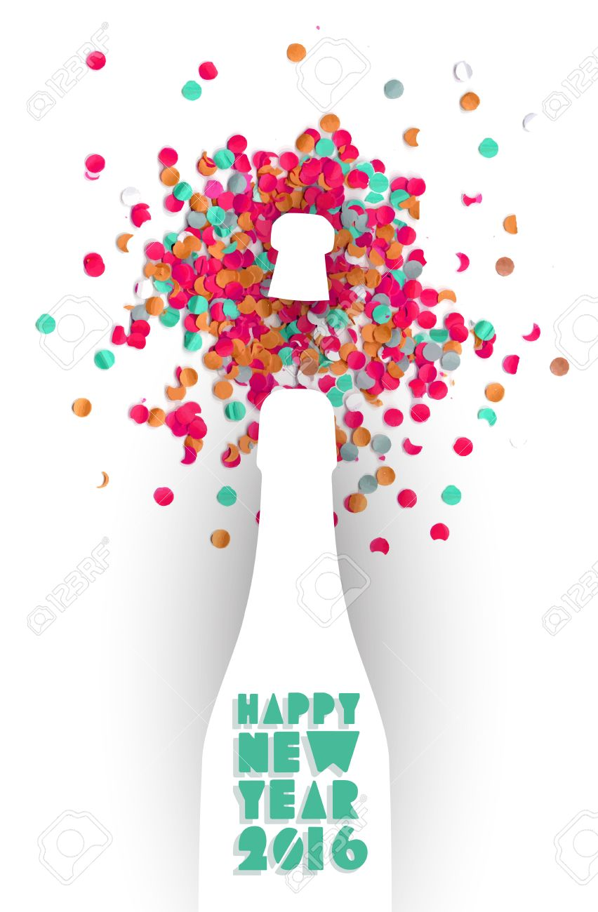 happy new year eve 2016 colorful celebration champagne bottle and confetti background ideal for holiday