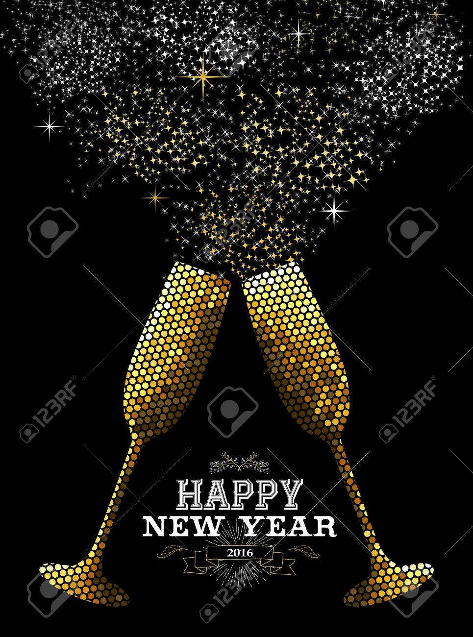 Merry Christmas Happy New Year Fancy Gold Drinking Glasses Making  Celebration Toast In Mosaic Style.