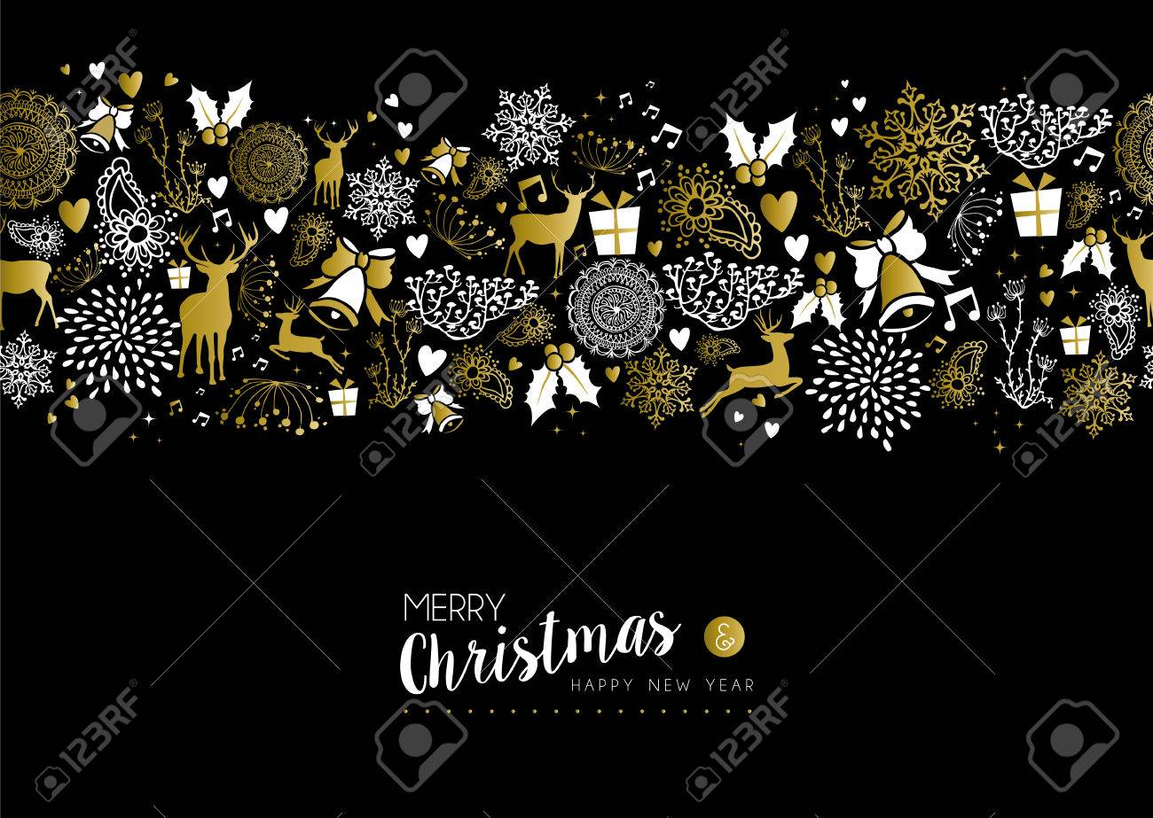 merry christmas happy new year luxury gold seamless pattern on black background with deer nature