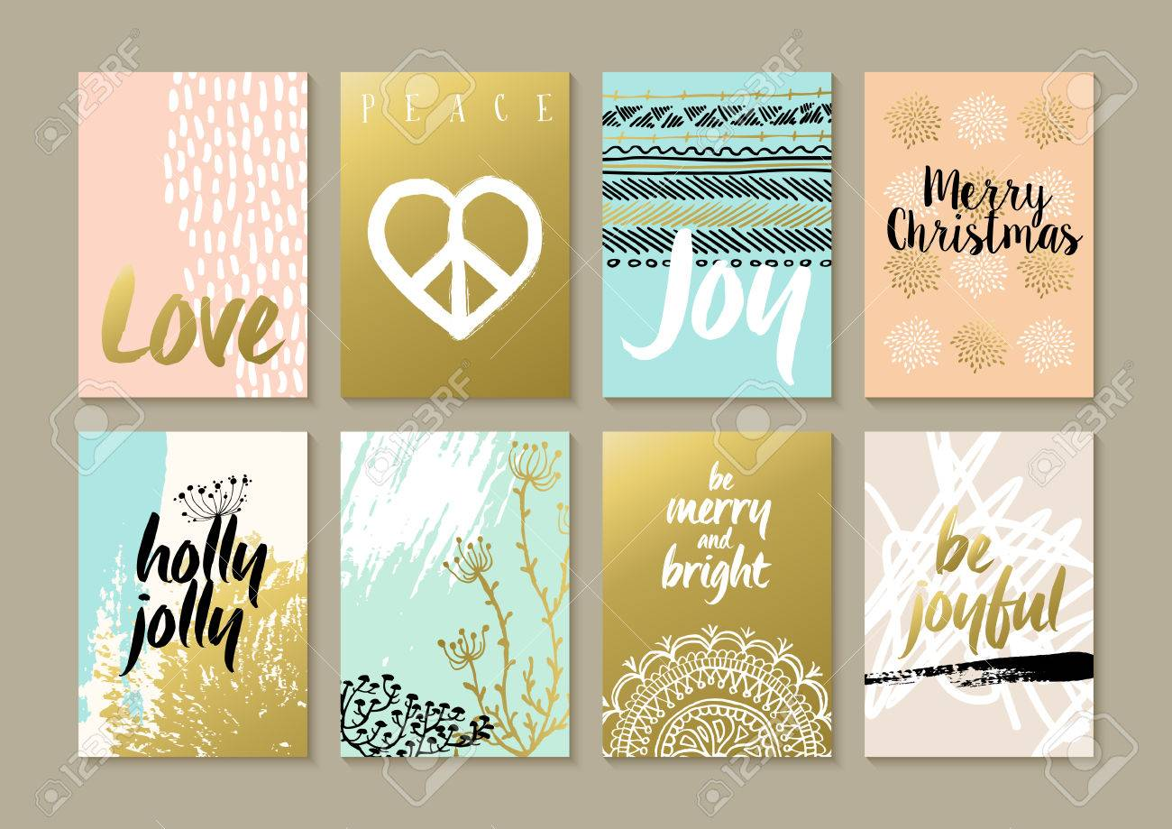 Merry Christmas Retro Hipster Boho Card Template Set With Vintage ...
