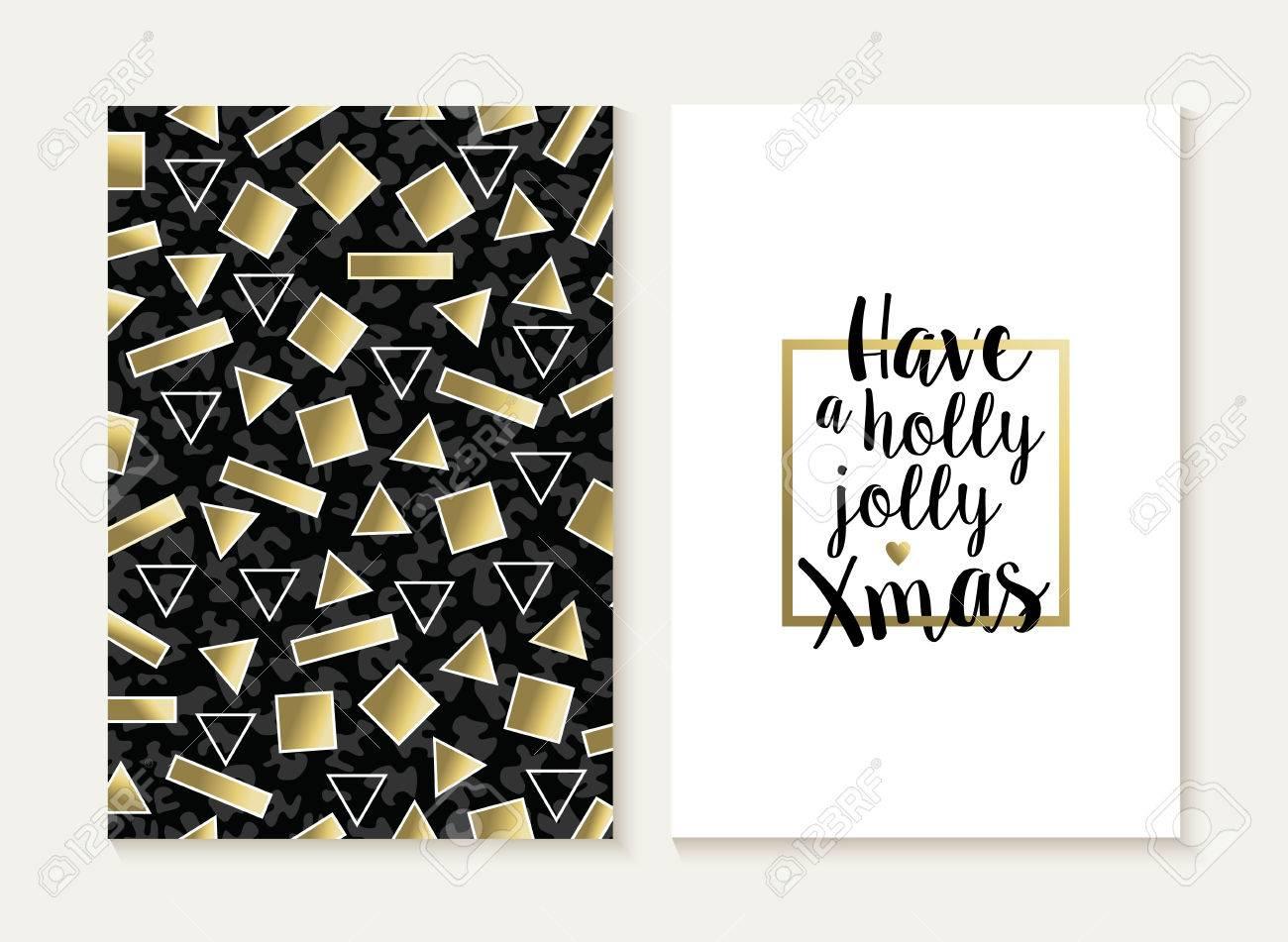 Merry Christmas Card Template Set: Retro 80s Gold Geometry ...