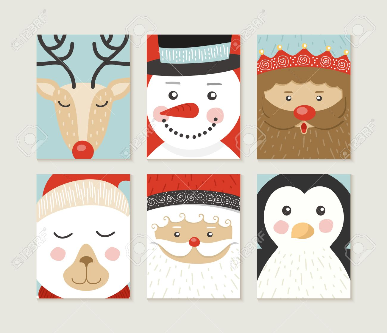 merry christmas design set cute retro designs of winter xmas characters santa bear