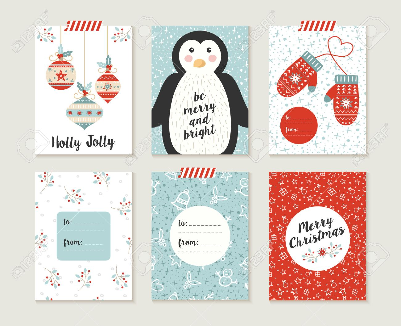 Merry Christmas Greeting Card Set With Cute Penguin, Xmas Bauble ...