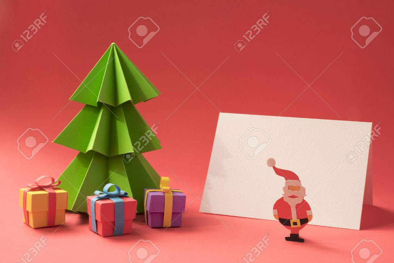 Merry Christmas Paper Cut Scene: Xmas Pine Tree With Gifts And Empty  Greeting Card Template