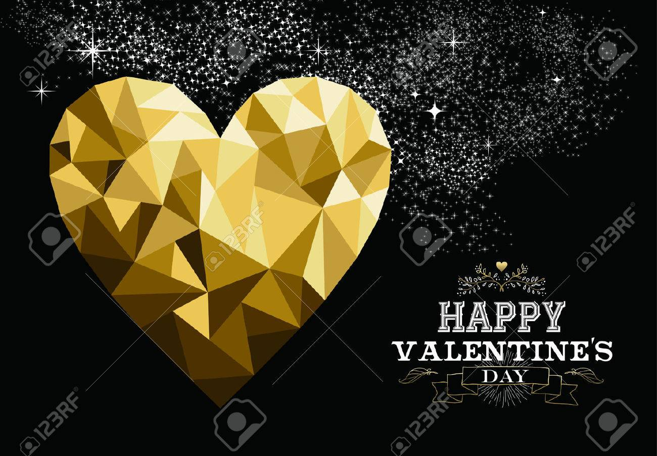 Happy valentines day love greeting card with heart shape design happy valentines day love greeting card with heart shape design in gold low poly style and kristyandbryce Images