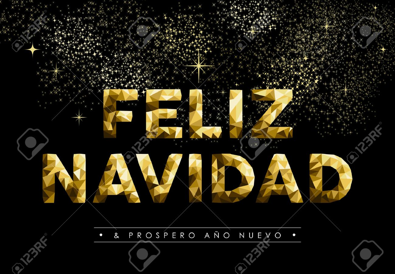 merry christmas greeting card in spanish language feliz navidad and new year label gold