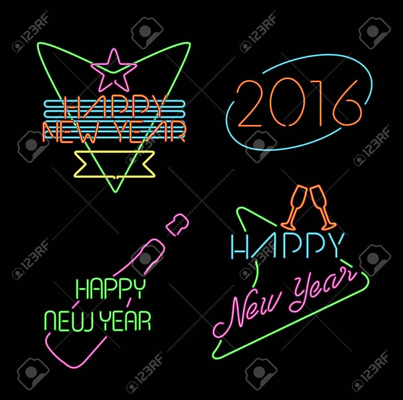 Happy New Year 2016 Neon Light Style Label Set, Retro Designs ...