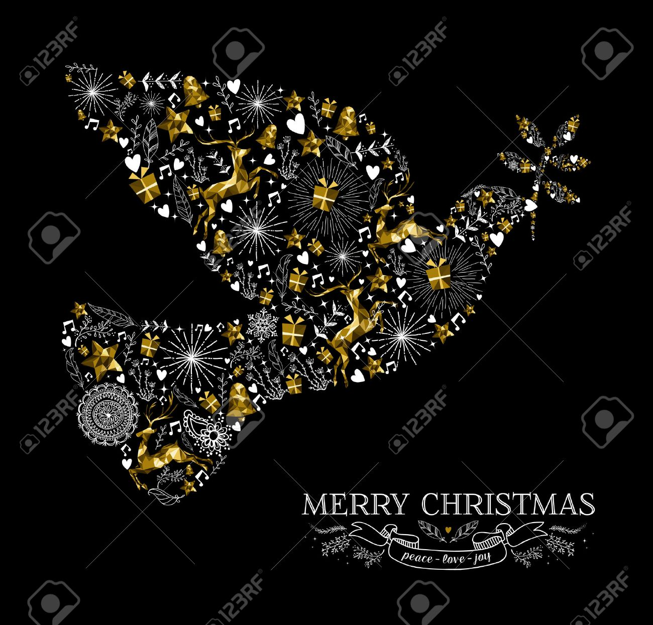 merry christmas happy new year greeting card design holiday elements and reindeer in gold low