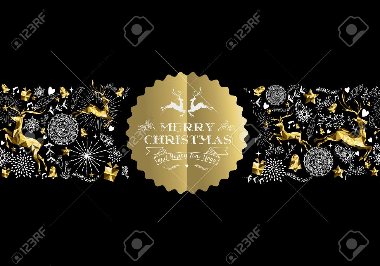 merry christmas happy new year gold label badge with low poly golden reindeer and holiday elements