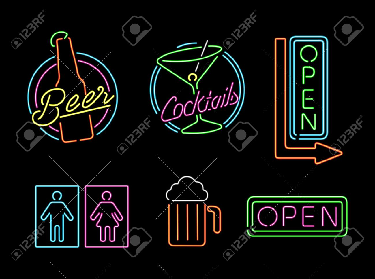 Bathroom Sign Vector Style set of retro style neon light outline sign icons for bar, beer