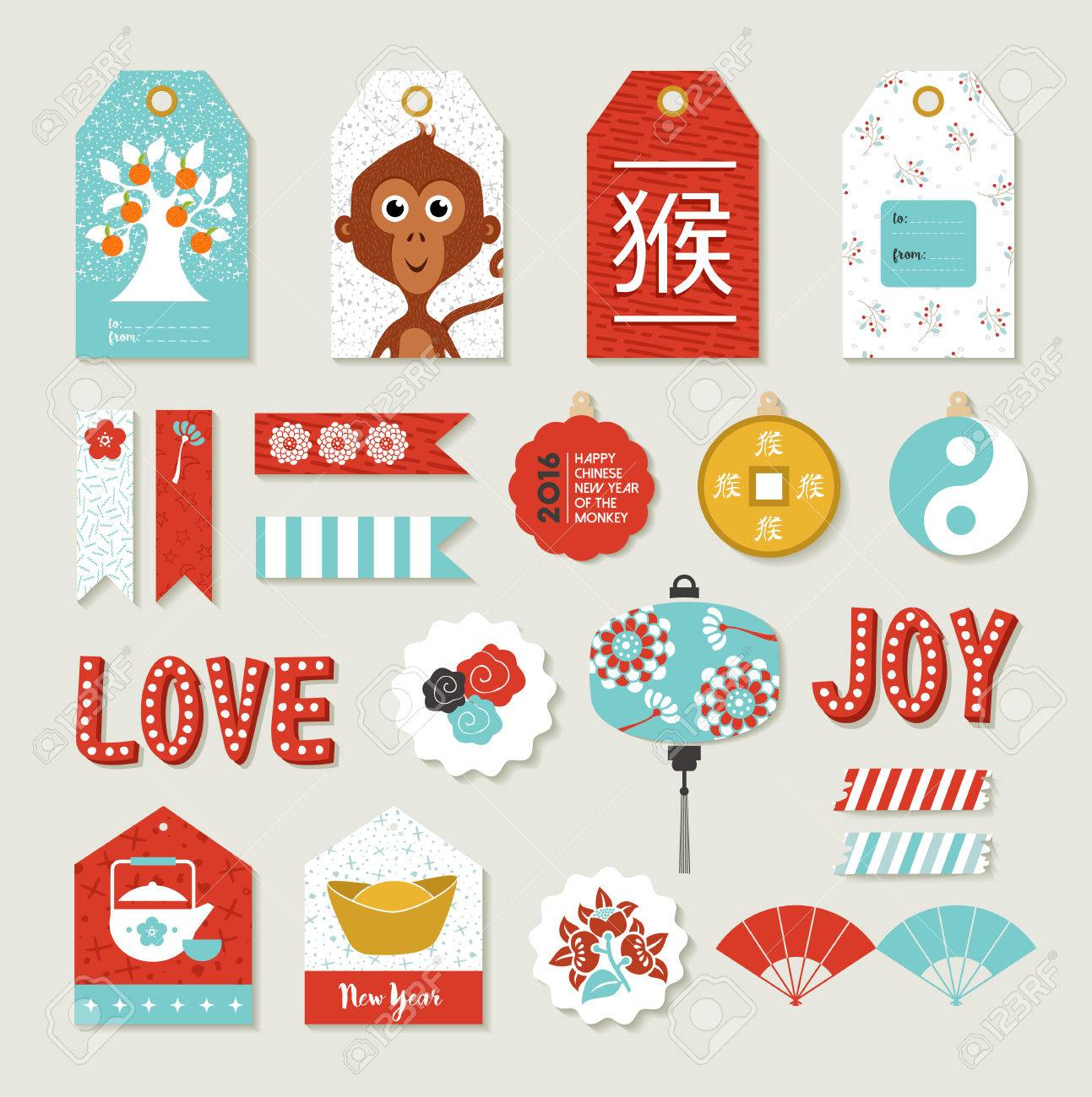 2016 Happy Chinese New Year Of The Monkey. DIY Print Set With ...