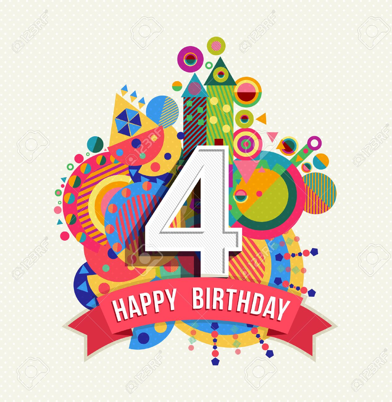Happy Birthday four 4 year, fun design with number, text label and colorful geometry element. Ideal for poster or greeting card. EPS10 vector. - 50199032